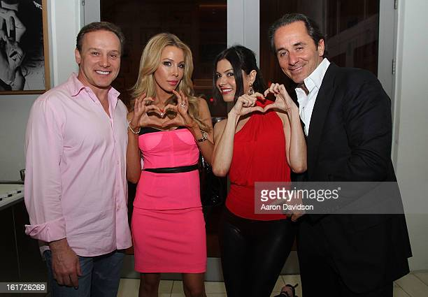 Leonard Hochstein Lisa Hochstein Adriana De Moura and Frederic Marq pose at Katsuya restaurant on February 14 2013 in Miami Beach Florida