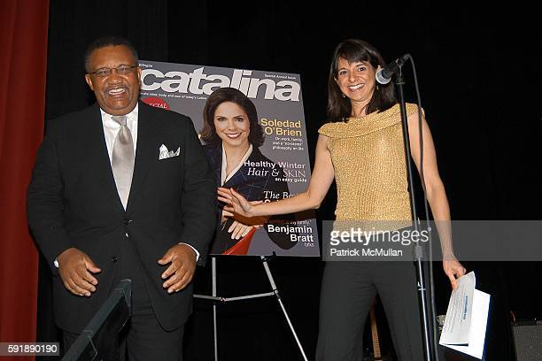 Leonard James and Cathy Areu attend Groundbreaking Latina in Leadership Awards at Hudson Theatre on October 11 2005 in New York City