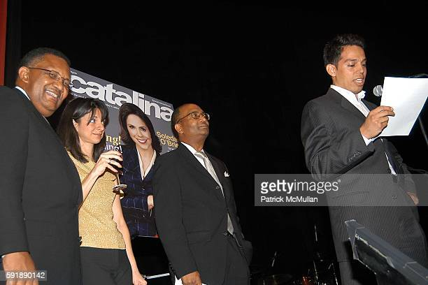 Leonard James Cathy Areu George Harmon and Jesse Duran attend Groundbreaking Latina in Leadership Awards at Hudson Theatre on October 11 2005 in New...