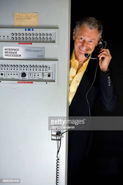 Leonard Kleinrock a professor of computer science at UCLA considered the father of the internet is photographed on the UCLA campus poking out of the...