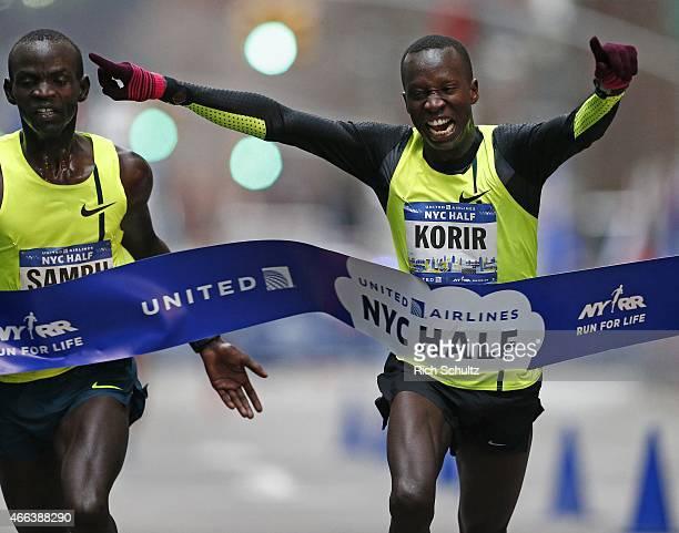 Leonard Korir of Kenya edges out fellow countryman, Stephen Sambu at the finish line to win the Men's 2015 United Airlines New York City Half...