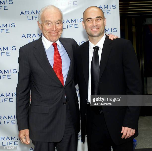 Leonard Lauder and Andre Agassi during Andre Agassi Launches New Men's Fragrance Aramis Life at Christie's in New York City New York United States