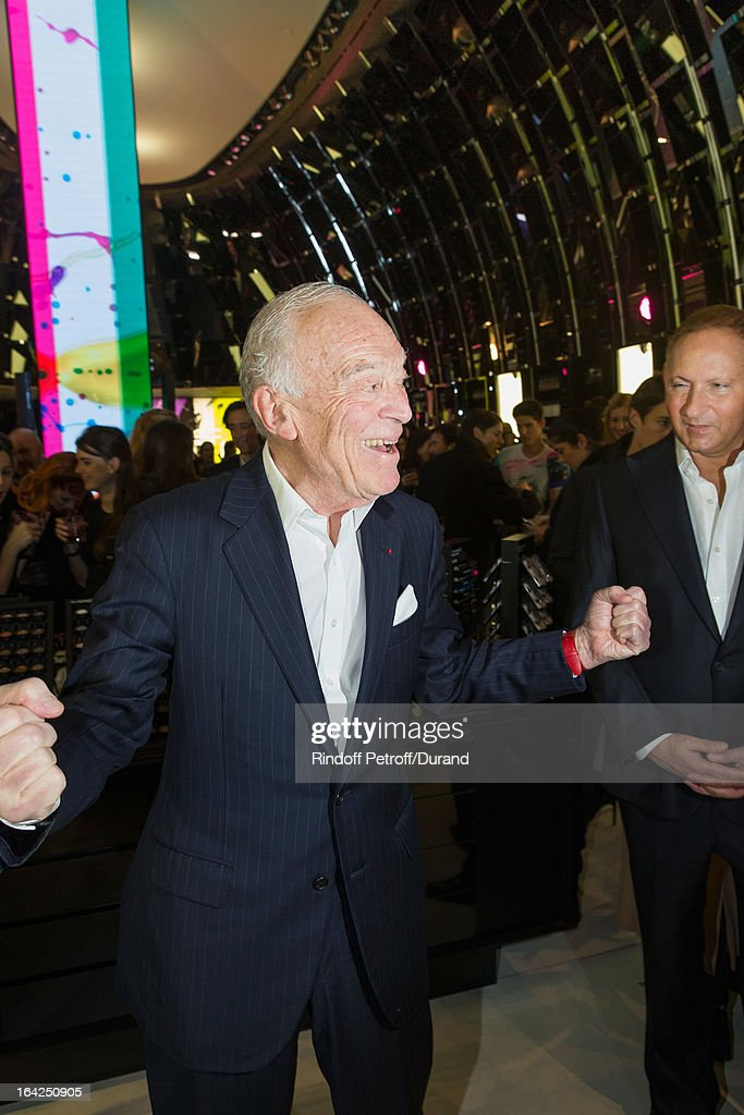 Leonard Lauder, chairman emeritus of The Estee Lauder Companies Inc. (L) and John Demsey, Group President at Estee Lauder Companies Inc., attend the MAC Cosmetics Champs Elysees Opening Party on March 21, 2013 in Paris, France.