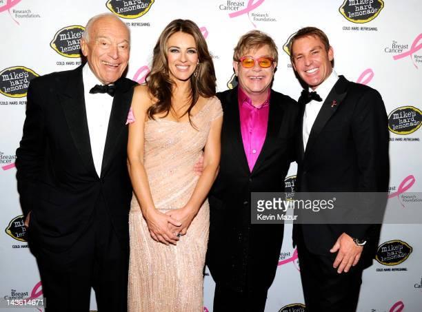 Leonard Lauder Elizabeth Hurley Sir Elton John and Shane Warne attend the Breast Cancer Foundation's Hot Pink Party at Waldorf Astoria Hotel on April...
