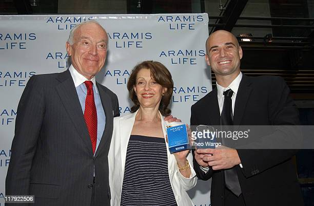 Leonard Lauder Evelyn Lauder and Andre Agassi during Tennis Superstar Andre Agassi Launches New Men's Fragrance Aramis Life at Christies in New York...