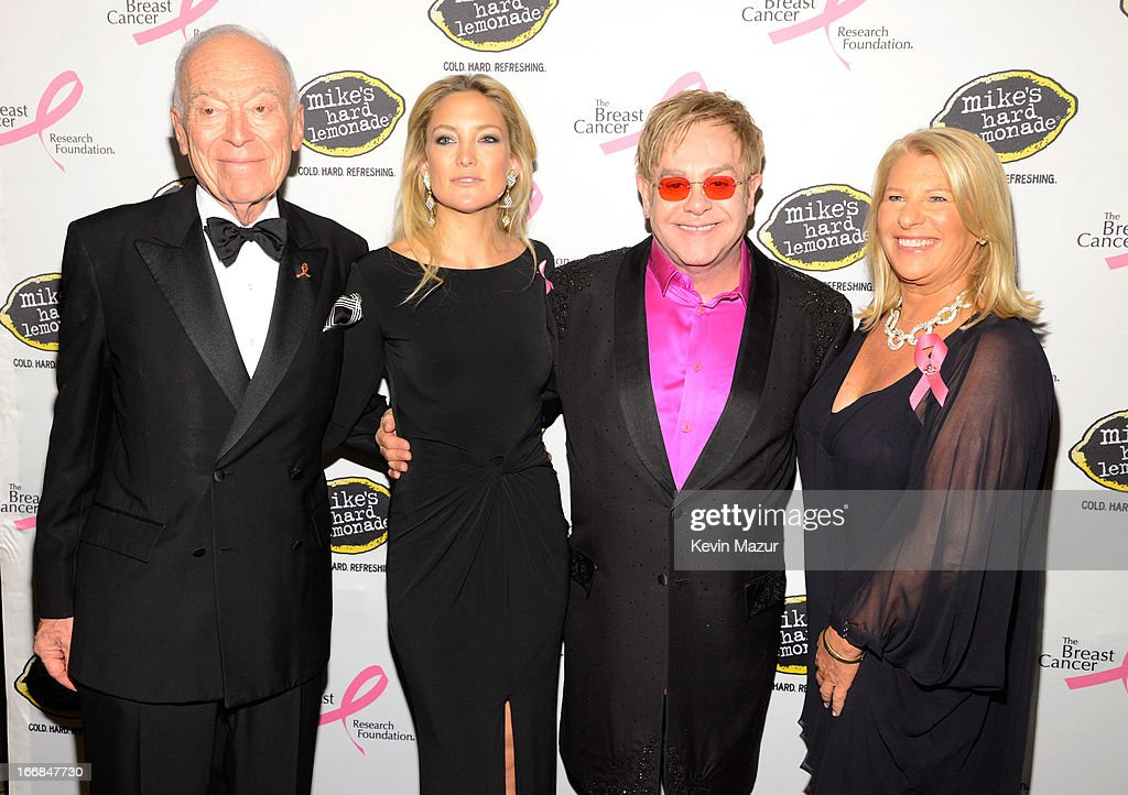 Leonard Lauder, Kate Hudson, Elton John and CEO of Ann Taylor Kay Krill attend the Breast Cancer Foundation's Hot Pink Party at the Waldorf Astoria Hotel on April 17, 2013 in New York City.