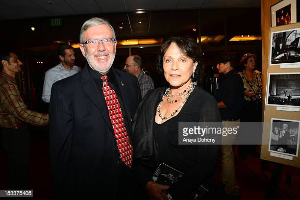 Leonard Maltin and Claire Bloom attend the Academy of Motion Picture Arts and Sciences presentation of the 60th anniversary of Chaplin's 'Limelight'...