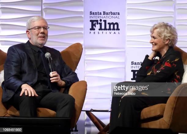 Leonard Maltin and Glenn Close speak onstage at the Maltin Modern Master Award Honoring Glenn Close during the 34th Santa Barbara International Film...
