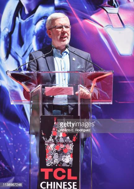 Leonard Maltin speaks at Marvel Studios' 'Avengers Endgame' Hand And Footprint Ceremony at the TCL Chinese Theatre on April 23 2019 in Hollywood...