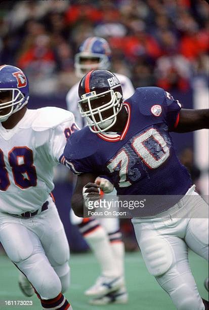 Leonard Marshall of the New York Giants in action against the Denver Broncos during an NFL football game November 23 1986 at the Meadowlands in East...