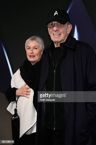 """Leonard Nimoy and his wife Susan Bay attend the """"Star Trek"""" DVD and Blu-Ray release party at the Griffith Observatory on November 16, 2009 in Los..."""