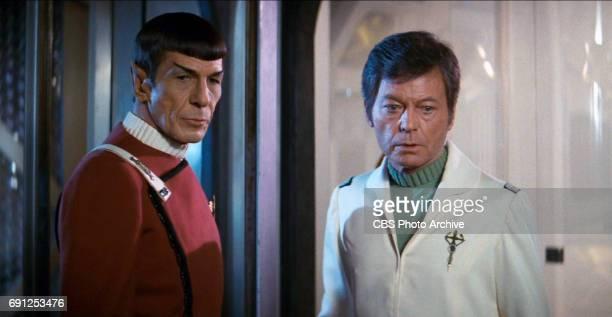 "Leonard Nimoy as Captain Spock and DeForest Kelley as Dr. Leonard ""Bones"" McCoy in the movie, ""Star Trek II: The Wrath of Khan."" Release date, June..."