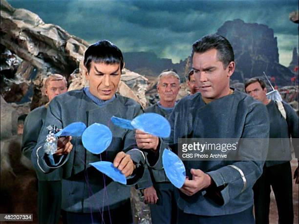 Leonard Nimoy as Commander Spock and Jeffrey Hunter as Captain Christopher Pike on the planet Talos IV in the STAR TREK The Original Series episode...