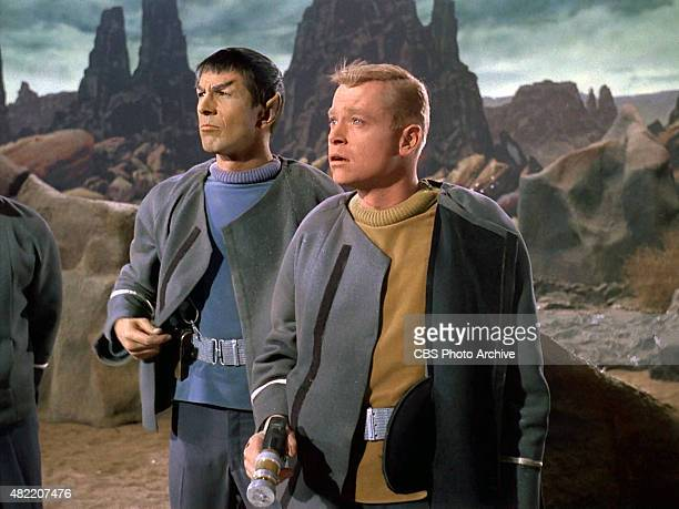 Leonard Nimoy as Commander Spock and Peter Duryea as Lieutenant Jos Tyler on the planet Talos IV in the STAR TREK The Original Series episode The...
