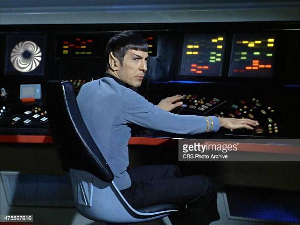 "Leonard Nimoy as Commander Spock on the ship's bridge in the Star Trek: The Original Series episode ""Space Seed."" Original air date February 16,..."