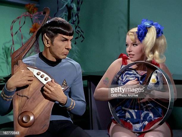 Leonard Nimoy as Mr Spock and Deborah Downey as Mavig in the STAR TREK THE ORIGINAL SERIES episode The Way to Eden Original air date February 21 1969...