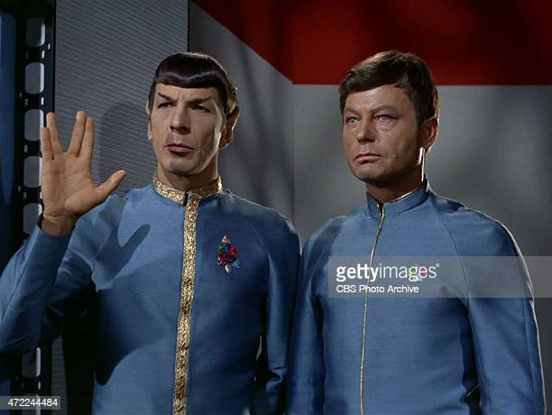 Leonard Nimoy as Mr Spock and DeForest Kelley as Dr Bones McCoy in the STAR TREK episode Journey to Babel Season 2 episode 10 originally broadcast...
