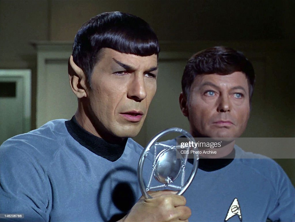 Leonard Nimoy as Mr. Spock and DeForest Kelley as Dr. Leonard H. 'Bones' McCoy in the STAR TREK episode, 'A Piece of the Action.' Original air date, January 12, 1968, season 2, episode 17. Image is a screen grab.