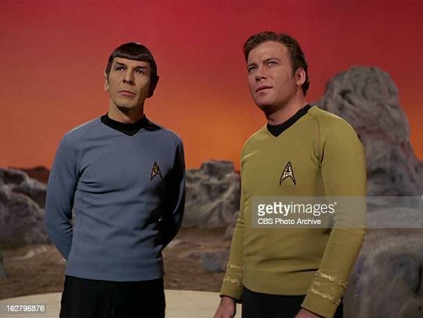 "Leonard Nimoy as Mr. Spock and William Shatner as Captain James T. Kirk in the STAR TREK: THE ORIGINAL SERIES episode, ""The Cloud Minders."" Season 3,..."
