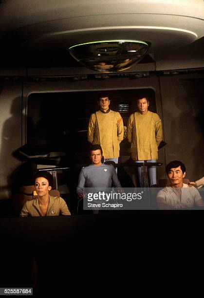 Leonard Nimoy as Mr Spock Deforest Kelley as Dr Leonard 'Bones' McCoy William Shatner as Admiral James T Kirk and George Takei Lieutenant Commander...