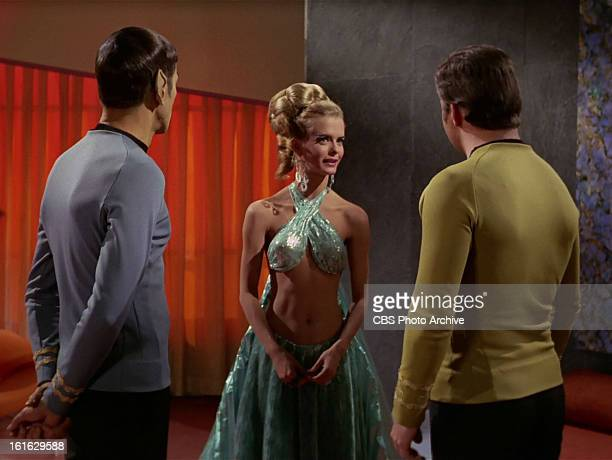 Leonard Nimoy as Mr Spock Diana Ewing as Droxine and William Shatner as Captain James T Kirk in the STAR TREK THE ORIGINAL SERIES episode The Cloud...