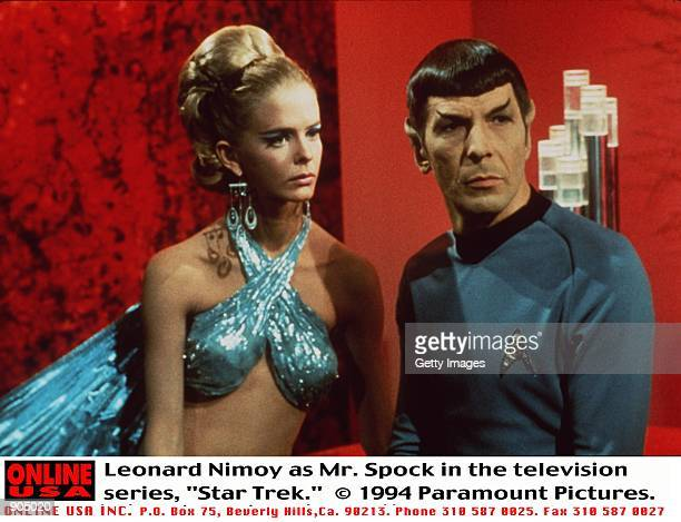 "Leonard Nimoy as Mr. Spock in the television series, ""Star Trek."""