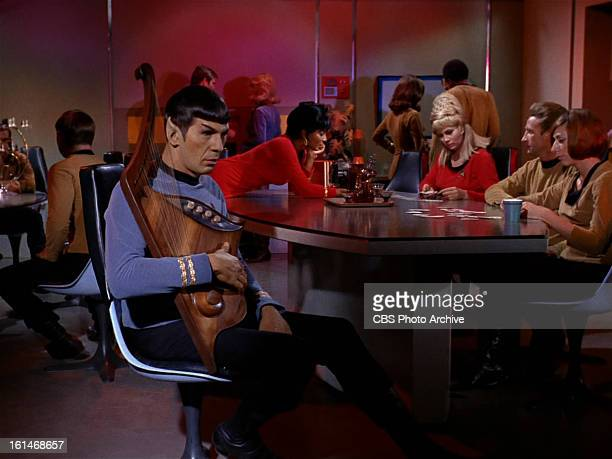 Leonard Nimoy as Mr Spock Nichelle Nichols as Lieutenant Uhura Grace Lee Whitney as Yeoman Janice Rand inin the STAR TREK episode Charlie X Season 1...