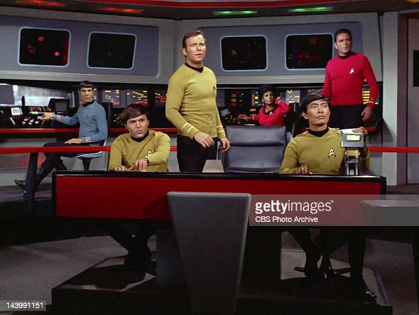 Leonard Nimoy as Mr. Spock, Walter Koenig as Pavel Chekov, William Shatner as Captain James T. Kirk, Nichelle Nichols as Uhura, George Takei as...