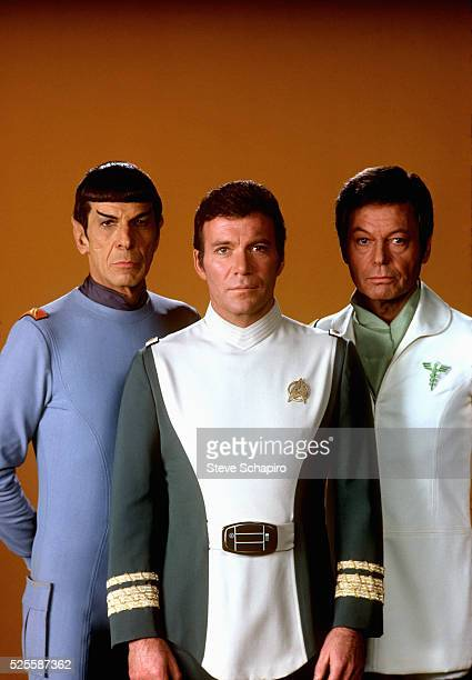 Leonard Nimoy as Mr Spock William Shatner as Admiral James T Kirk and Deforest Kelley as Dr Leonard 'Bones' McCoy in the 1979 film Star Trek The...