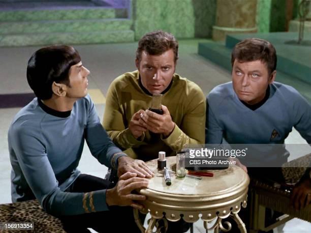 "Leonard Nimoy as Mr. Spock, William Shatner as Captain James T. Kirk and DeForest Kelley as Dr. McCoy in the STAR TREK episode, ""Plato's..."