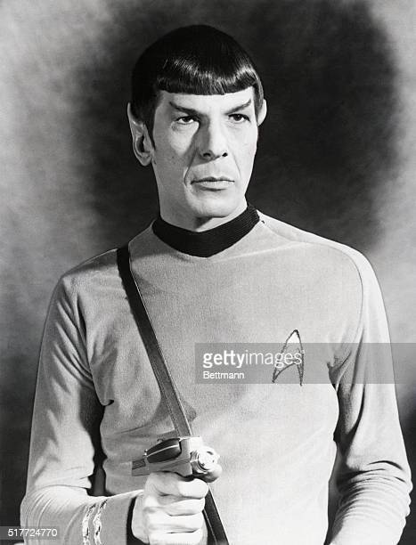 Leonard Nimoy in his role as Mr Spock the logical pointedeared First Officer from the planet Vulcan of the starship Enterprise on the TV series Star...