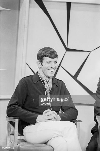 Leonard Nimoy miked for interview; circa 1970; New York.