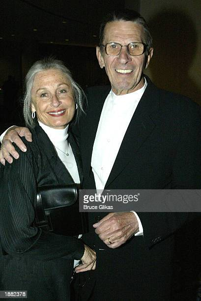 """Leonard Nimoy poses for a picture with his wife Susan Bay during the opening party for the Broadway show """"Urban Cowboy"""" on March 27, 2003 in New York..."""