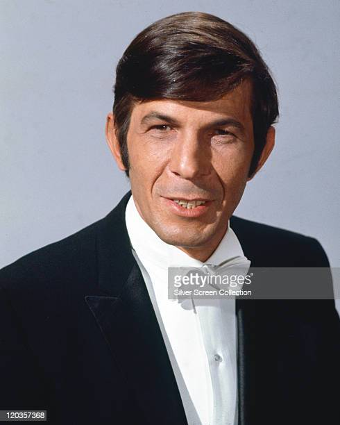Leonard Nimoy, US actor, US actor and film director, wearing a black jacket, a white shirt and a white bow tie, in a publicity portrait issued for...