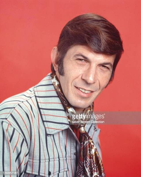 Leonard Nimoy, US actor, US actor and film director, wearing a striped shirt and a paisley patterned cravat, in a publicity portrait issued for the...