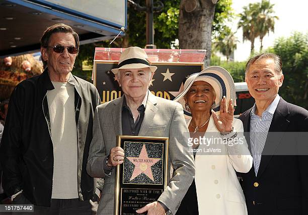 Leonard Nimoy, Walter Koenig, Nichelle Nichols and George Takei attend Koenig's induction into the Hollywood Walk of Fame on September 10, 2012 in...