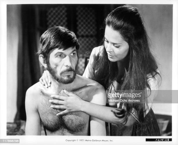 Leonard Nimoy with border girl Erika Lopez in a scene from the film 'Catlow', 1971.