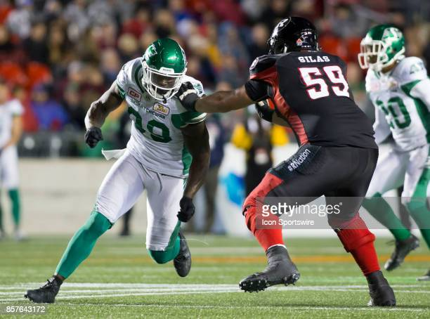 C Leonard of the Saskatchewan Roughriders rushes the Ottawa Redblacks offence The Saskatchewan Rough Riders defeated the Ottawa Redblacks 1817 in...