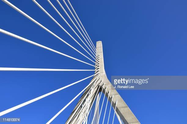 leonard p zakim bunker hill bridge - suspension bridge stock photos and pictures