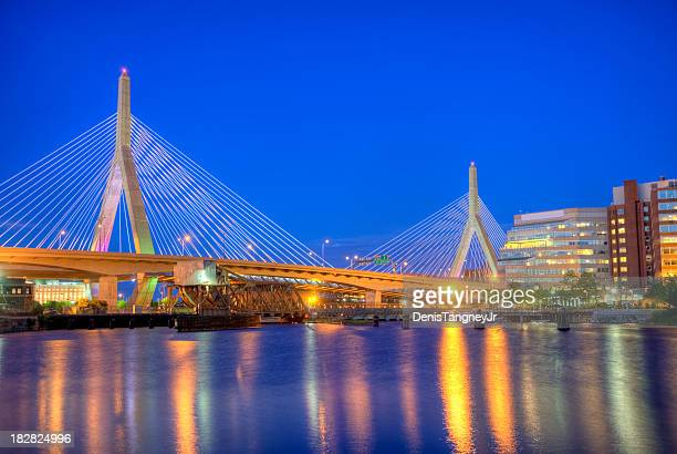 leonard p. zakim bunker hill bridge - boston stock pictures, royalty-free photos & images