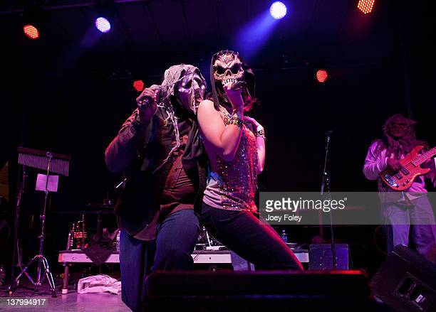 Leonard Patterson Jessica Patterson and Marc Latney of Living Proof performs onstage during day 4 of the Super Bowl Village on January 30 2012 in...