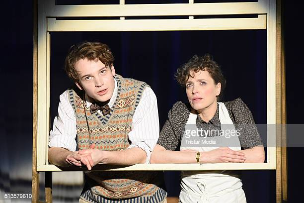 Leonard Scheicher and Anna Thalbach perform at the 'Die Glasmenagerie' Rehearsal on March 3 2016 in Berlin Germany