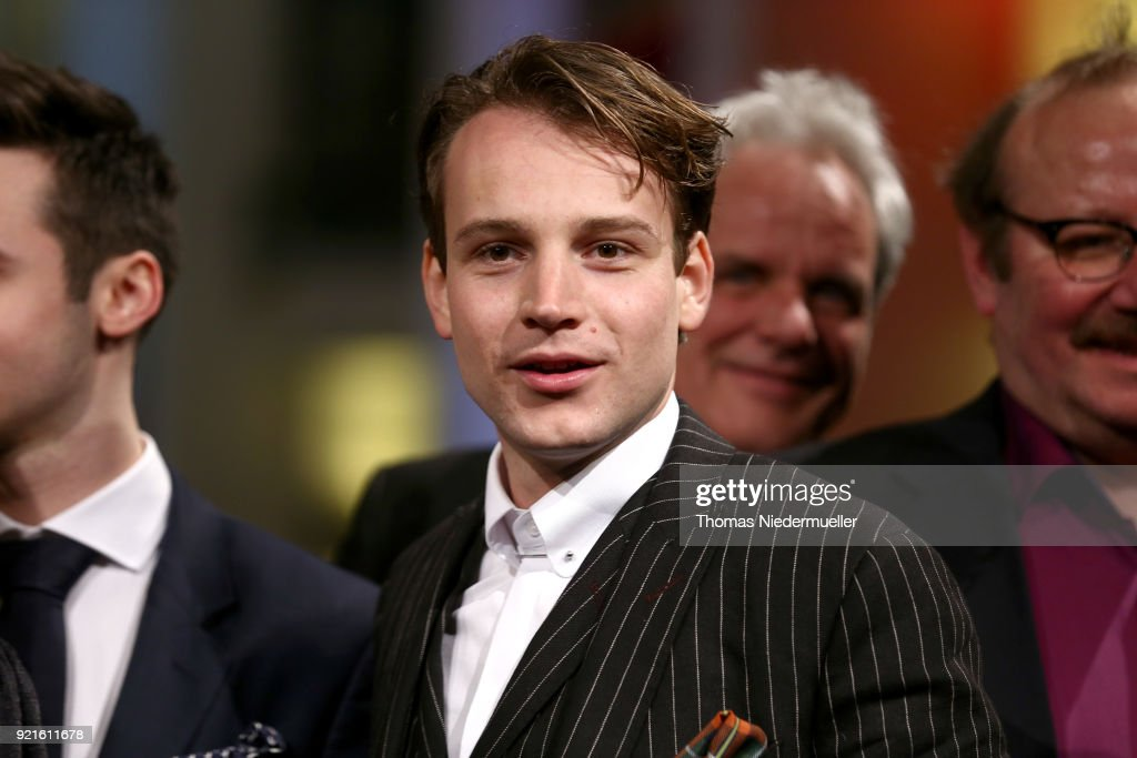 Leonard Scheicher (C) attends the 'The Silent Revolution' (Das schweigende Klassenzimmer) premiere during the 68th Berlinale International Film Festival Berlin at Friedrichstadtpalast on February 20, 2018 in Berlin, Germany.