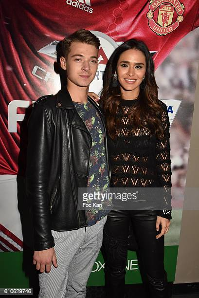 Leonard Trierweiler and TV presenter Leila Ben Khalifa attends FIFA Xperience at Cercle Cadet on September 26 2016 in Paris France