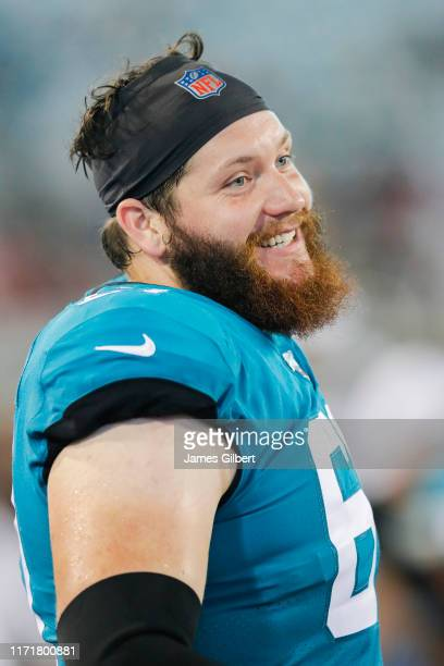 Leonard Wester of the Jacksonville Jaguars looks on during the second half of a preseason game against the Atlanta Falcons at TIAA Bank Field on...
