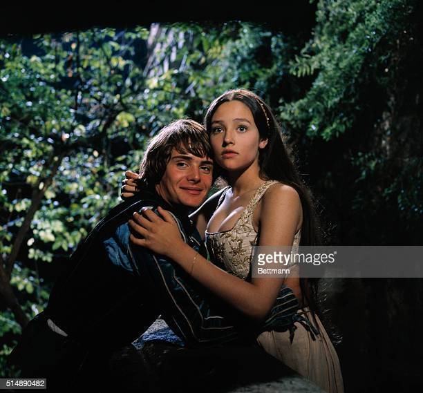 Leonard Whiting plays Romeo Montague and Olivia Hussey plays Juliet Capulet in the 1968 production of Shakespeare's Romeo and Juliet directed by...
