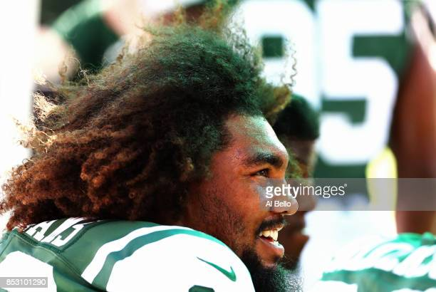 Leonard Williams of the New York Jets looks on against the Miami Dolphins during the first half of an NFL game at MetLife Stadium on September 24...