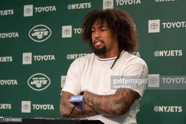 Leonard Williams of the New York Jets speaks with the media before day two of mandatory minicamp at the Atlantic Health Jets Training Center on June...