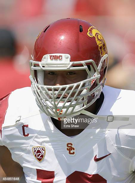 Leonard Williams of the USC Trojans warms up before their game against the Stanford Cardinal at Stanford Stadium on September 6 2014 in Palo Alto...