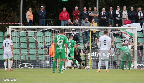Leonardo Acevedo Guimaraes of Lommel SK scores to make it 11 during the Proximus League match between Lommel SK and OH Leuven at Soeverein Stadion on...